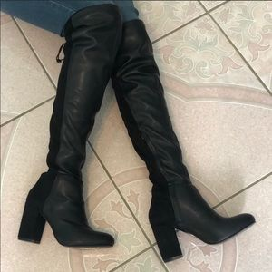 Over the knee/knee high/thigh high black boots